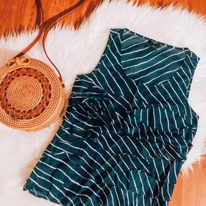 Ann Taylor Blue & White Stripe Ruffle Blouse, XS